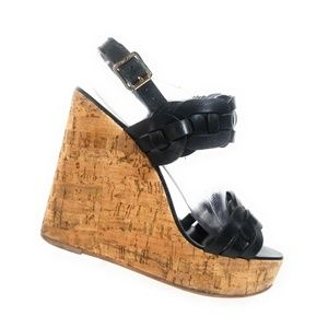 Tory Burch Calyca Women Black Woven Wedges 7.5 M